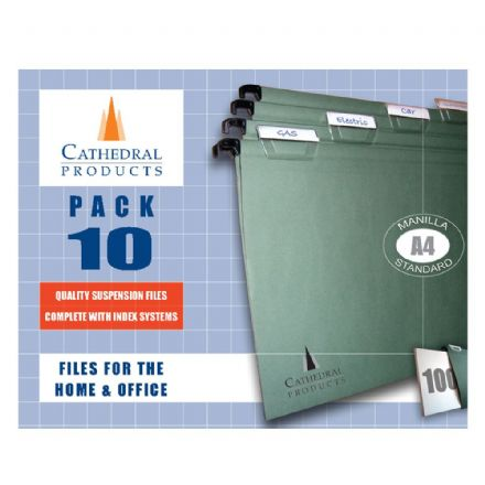 Cathedral Products Manilla Foolscap Suspension Files 10 Pack with Index System
